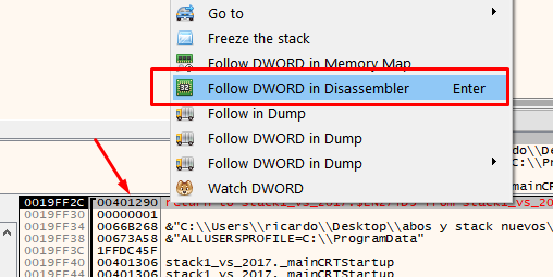 follow DWORD in Disassembler