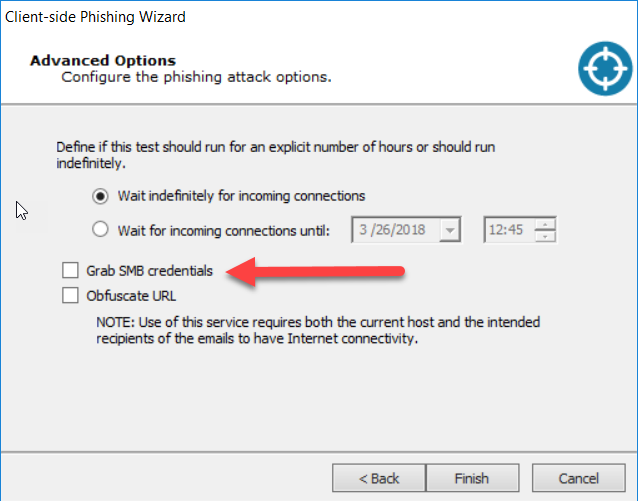 Core Impact client-side phishing advanced options screen