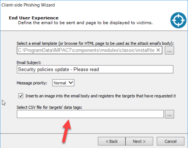 Core Impact client-side phishing end user experience screen