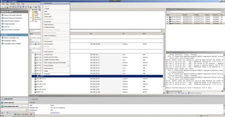 Core Impact pivot right-click screenshot