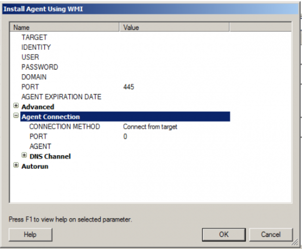 Core Impact Install Agent WMI screenshot