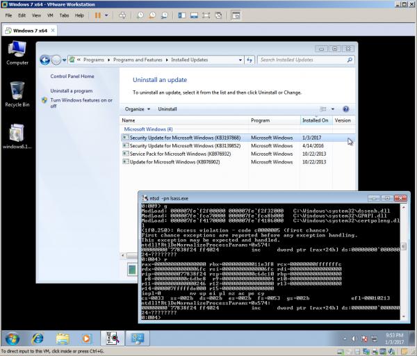 Windows 7 x64 CVE-2016-7237 Vulnerability