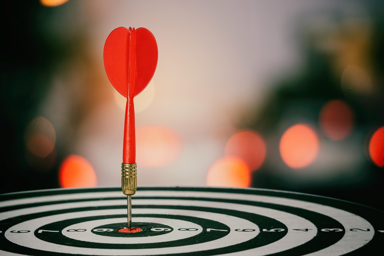 red dart in the bullseye