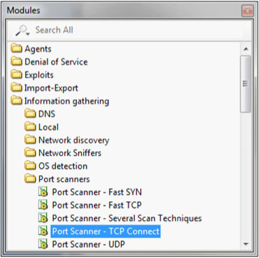 Core Impact modules search screen