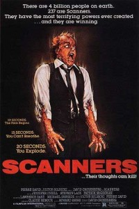 Box art for the 1981 David Cronenberg film, Scanners.