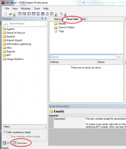 Core Impact MS-Word Webbug Module Screen